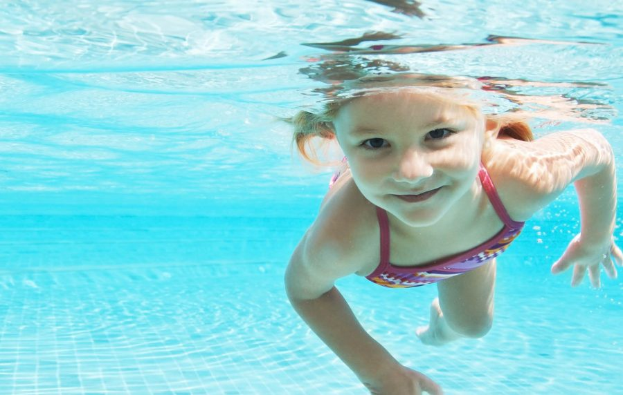 Girl swimming in water